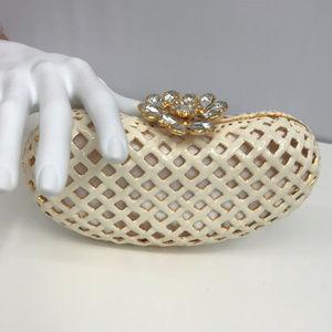 Clara Kasavina Ivory Metal Mesh Jeweled Clutch